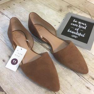 Women's cut out Ballet Flats Faux Suede Cognac 11